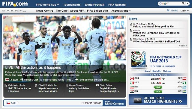 8 Super Websites for Soccer Fans fifa com homepage