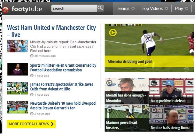 8 Super Websites for Soccer Fans footytube homepage
