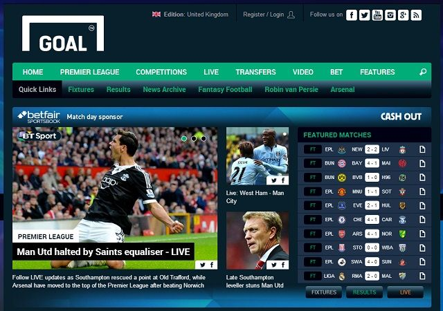 8 Super Websites for Soccer Fans goal homepage