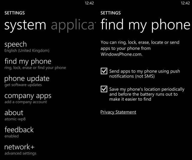 muo-wp8-findmyphone-settings