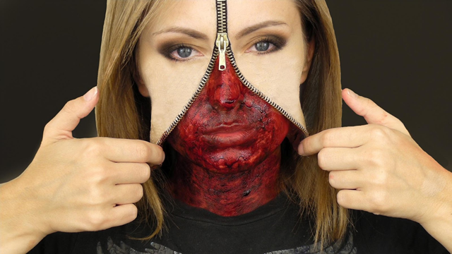 11 Hideously Scary Halloween Makeup Ideas You Can Borrow From The Web zipper face