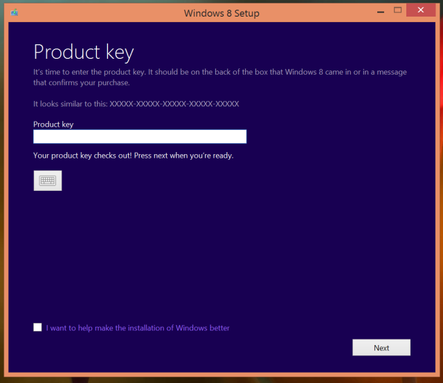 2 windows 8 setup product key