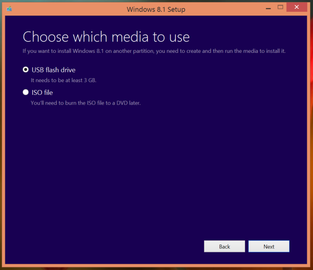 7 choose windows 8 installation media