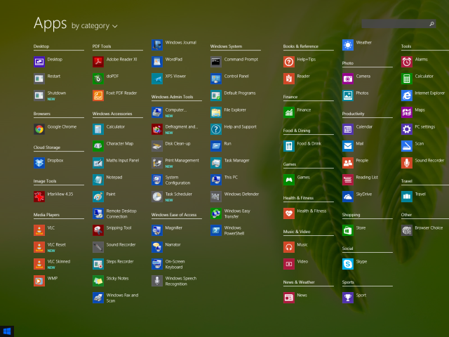 Start Menu Apps View