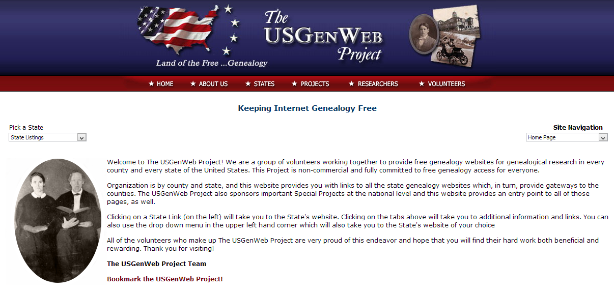 usgenweb project The usgenweb project is a loosely organized group of volunteers working to create a center for genealogical research for every county in the united states usgenweb is not a commercial enterprise and information found on these pages is freely available to the public.
