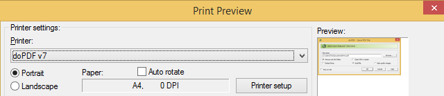 Windows 8 Print Preview