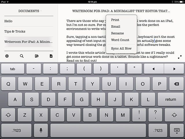WriteRoom for iOS: A Minimal, Productive Text Editor for iPhone & iPad email etc