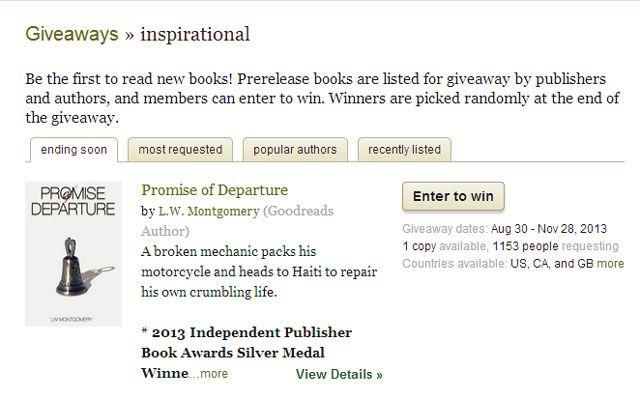 Goodreads giveaways ending soon