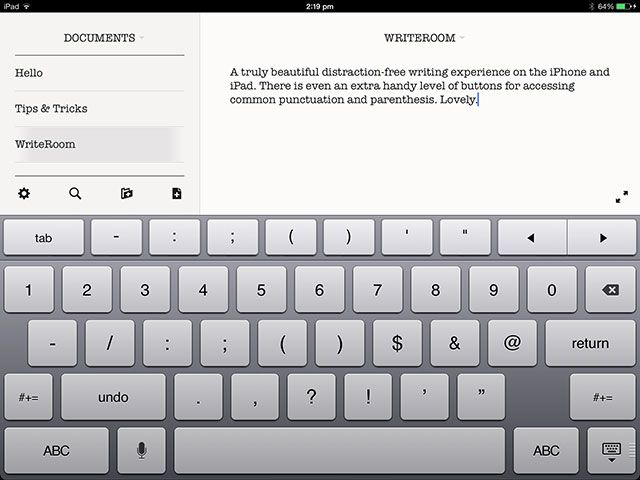 WriteRoom for iOS: A Minimal, Productive Text Editor for iPhone & iPad ipad wr1
