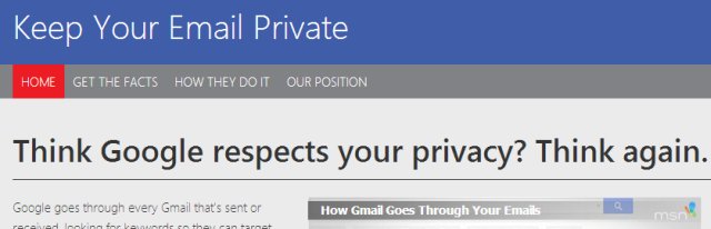 Microsoft Aims To Lure Gmail Users With A Blunt Comparison Website keepyouremailprivate