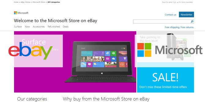 Microsoft Store Opens On eBay For Online Shoppers In The U.S.