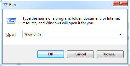 Windows Run Dialog WinDir