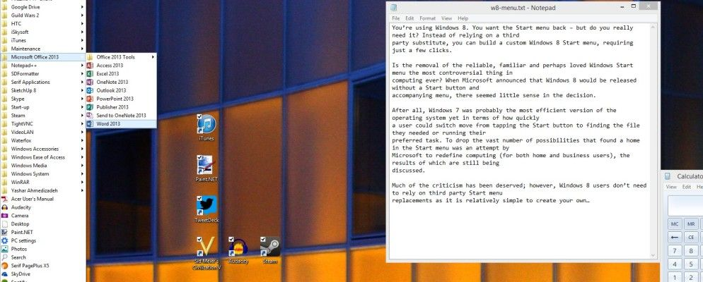 Build A Custom Windows 8 Start Menu Using Toolbars