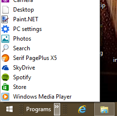 Toolbar Start Menu