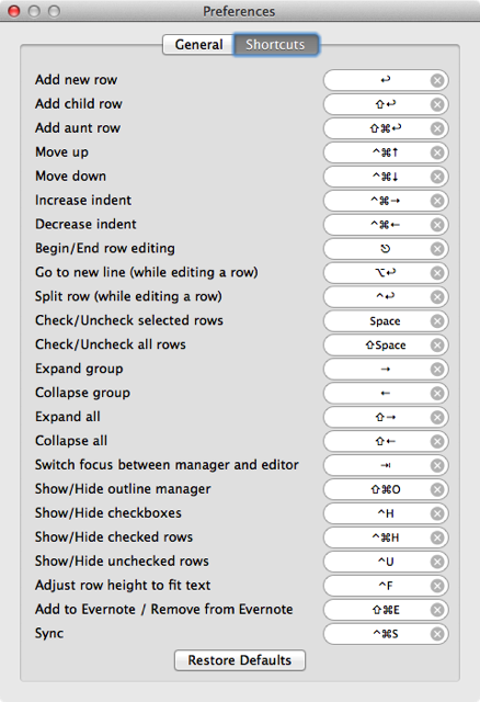 Cloud Outliner shortcuts