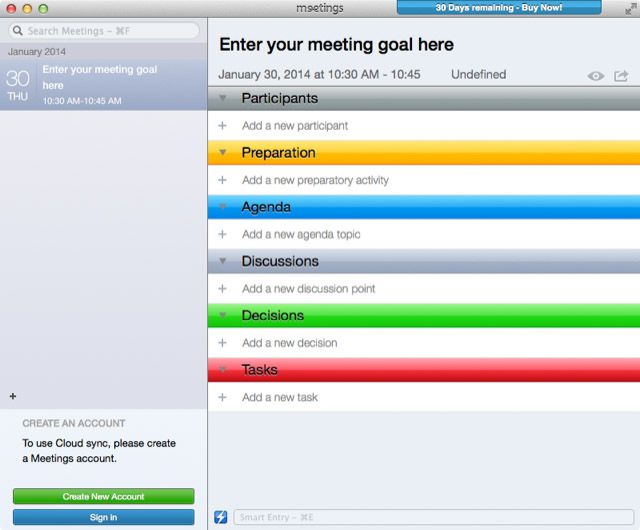 there are sections of the user interface for adding names of meeting participants preparation and agenda