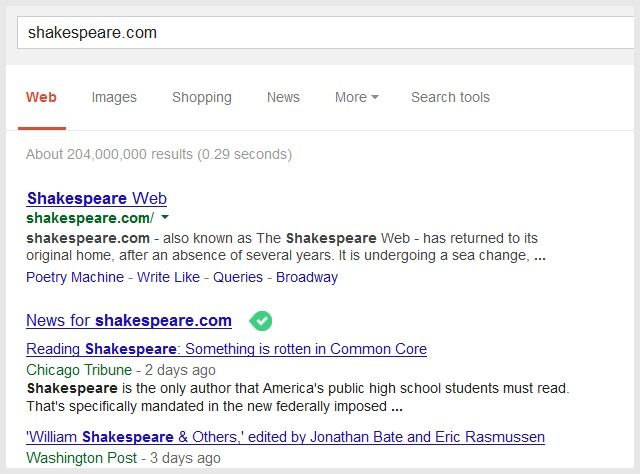 shakespeare-google-search