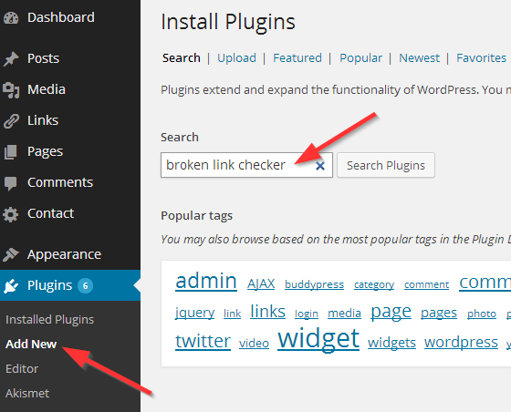Broken Link Checker  Search plugins - add new