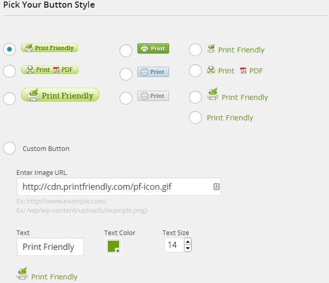 Print Friendly WordPress Plugin - Settings - Button Style