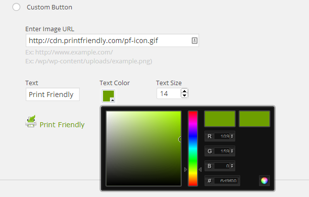 Print Friendly WordPress Plugin - Settings - Button Display - Custom Button
