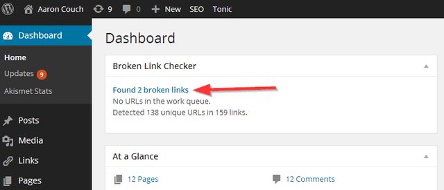 Broken Link Checker dashboard widget