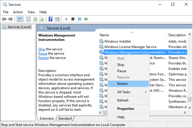 How to restart Windows Management Instrumention using Services.msc in Windows