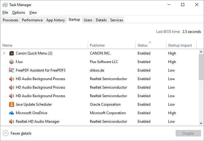 windows 10 startup items
