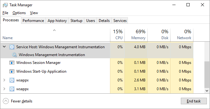 Windows Management Instrumentation in the Task Manager
