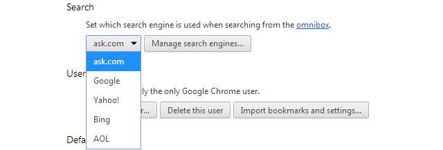 Chrome Default Search Engine