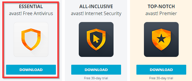 Avast - Download options - Free