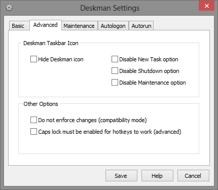 10 Advanced Tab - Deskman Settings