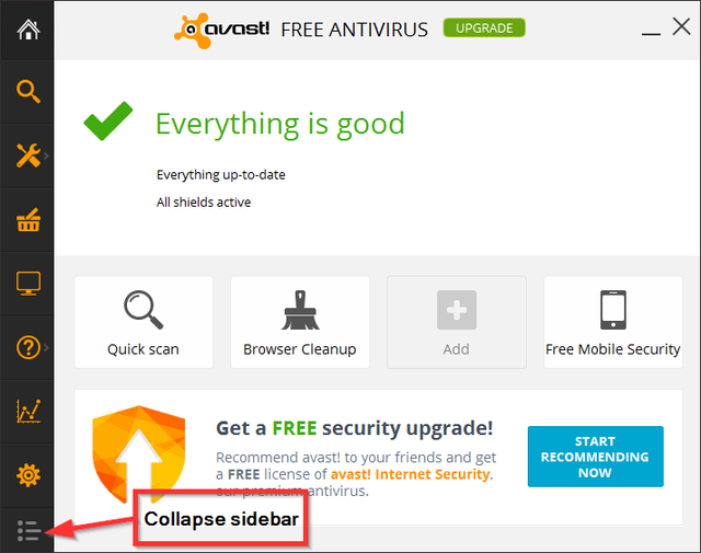 Avast - Home - Collapse Sidebar