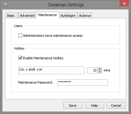 11 Maintenance Tab - Deskman Settings