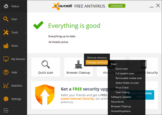 Avast - Home - Change remove shortcut