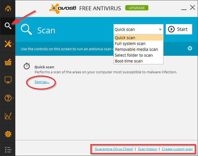 Avast - Scan Options