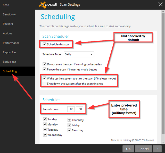 Avast - Schedule Scan Settings