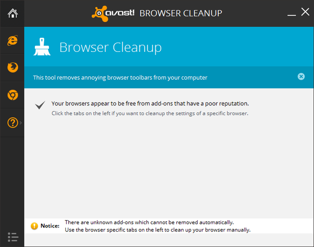 Avast - Tools - Browser Cleanup