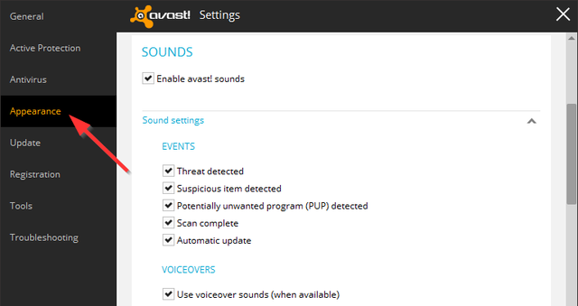 Avast - Settings - Appearance - Sounds