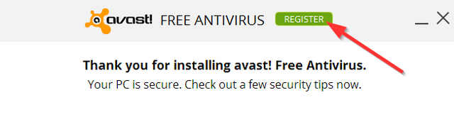 Avast - Registration - Button