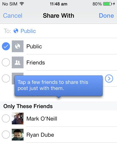 Facebook iOS App - Share Photos