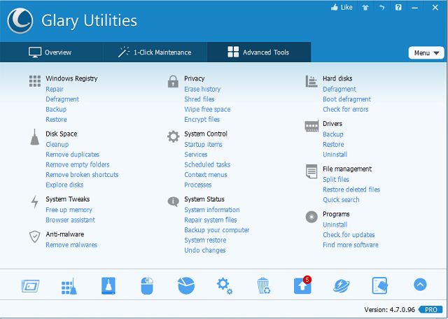 Glary Utilities Advanced Tools