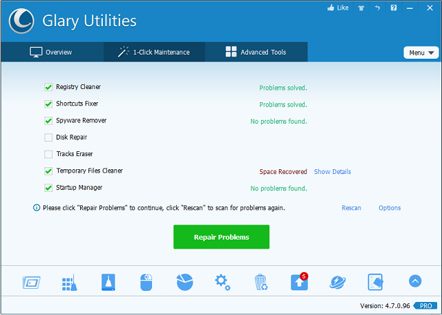 Glary Utilities One Click Maintenance