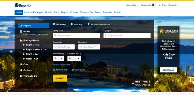 Expedia New Homepage