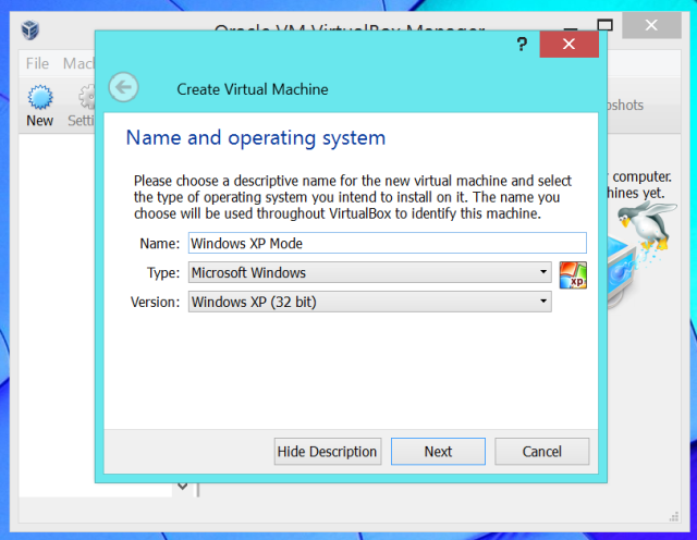 create virtual machine for windows xp in virtualbox