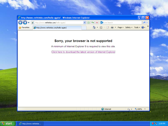 Internet Explorer 8 is not supported