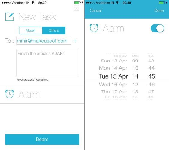 Beamtask-for-iPhone-Create-task-set-alarm