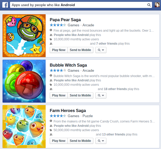 Facebook Games liked by Android
