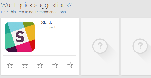 Google Play Quick Suggestions