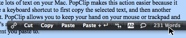 PopClip word count
