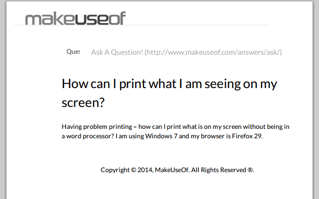 Print Answers Question